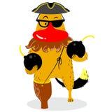 Halloween-hondkarakter in kostuum van piraat Leuk huisdier in fansy Royalty-vrije Stock Afbeelding