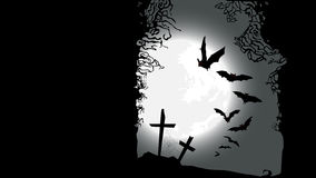 Halloween horizontal banner - destroyed cemetery. In full moon vector illustration