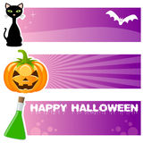 Halloween Horizontal Banners. A collection of three Halloween horizontal banners with a black cat, a scary pumpkin and a green magic bullet on violet background Stock Photos