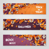 Halloween Horizontal Banners with Flat Icons Stock Photo