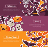 Halloween Horizontal Banners. Flat Icons Royalty Free Stock Photos