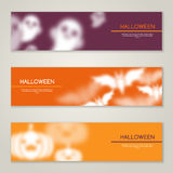 Halloween Horizontal Banners or Flyers vector illustration
