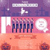 Halloween horizontal banners set with traditional symbols of holiday in flat vector illustration. vector illustration