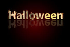 HALLOWEEN. Horizontal inscription on red. Background with fire. Fiery letters Stock Photography