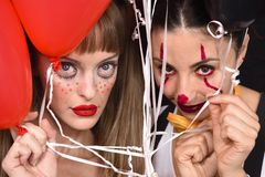Halloween creepy make-up girls royalty free stock image