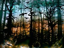 Halloween horror forest with bats - dark scenery Royalty Free Stock Image