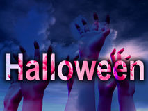 Halloween Horror Hands. An image of some hands with the word Halloween in the foreground and some clouds in the background Royalty Free Stock Photography