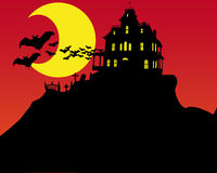 Halloween horror house. Illustration of halloween background with moon and old horror house and some bats on fly Stock Images