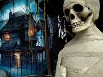 Halloween horror house with mummy and skull Stock Images