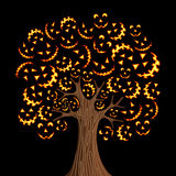 Halloween horror icons tree Stock Images