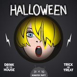 Halloween horror movie poster. With pop-art girl in the center and volumetric labels. Vector eps 10 Stock Images