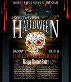 Halloween Horror Party flyer. With a lot of themed elements and blood drops, bats, pumpkins and so over Stock Images