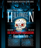 Halloween Horror Party flyer. With a lot of themed elements and blood drops, bats, pumpkins and so over Royalty Free Stock Photo