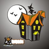 Halloween house. With some bats flying and witch on broomstick giving a horror look Stock Images
