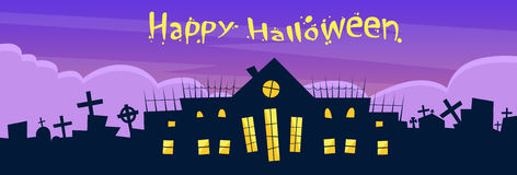 Halloween House Cemetery Graveyard Card Banner Royalty Free Stock Images