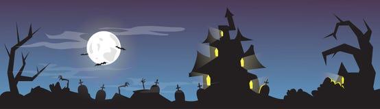 Halloween House Cemetery Graveyard Card Banner Stock Photo