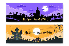 Halloween House Cemetery Graveyard Card Pumpkin Stock Images