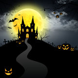 Halloween house full moon Royalty Free Stock Photo
