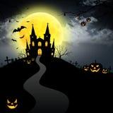 Halloween house full moon Royalty Free Stock Photo