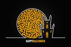 Halloween house full moon design background Royalty Free Stock Photography