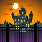 Halloween House Ghost Party Invitation Card Flat Royalty Free Stock Photography
