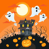 Halloween House Goust Pumpkin Face Party Royalty Free Stock Image