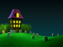 Halloween house. Haunted house on a hilly cemetery. Halloween 3D image Royalty Free Stock Image