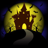 Halloween house party full moon Royalty Free Stock Photos