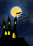 Halloween house party full moon Royalty Free Stock Photography
