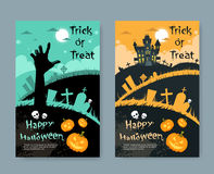 Halloween House Pumpkin Face Party Invitation Card Stock Photos