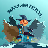 Halloween House Scarecrow With Pumpkin Face Party Invitation Card Royalty Free Stock Photo