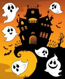Halloween house silhouette and ghosts 1 Royalty Free Illustration