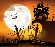 Halloween house silhouette theme 5 Stock Illustration
