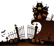 Halloween house silhouette theme 6 Stock Illustration