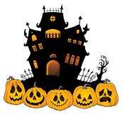 Halloween house silhouette theme 4 Stock Illustration