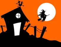Halloween house witch Royalty Free Stock Photography