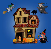 Halloween house and witches Royalty Free Stock Photos