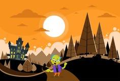 Halloween House Zombie Boy Scary Cartoon Character Royalty Free Stock Photos