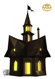 Halloween-huis lage poly Stock Foto's