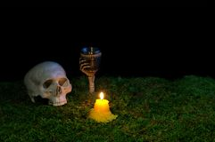 Halloween human skull, goblet and candles glowing in the dark on stock photography