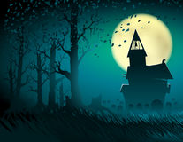 Halloween Hut Moon Light Trees Mystical Night Stump Background C. Halloween scene with the moon and the old castle; Abandoned hut in the old forest with a Stock Photo