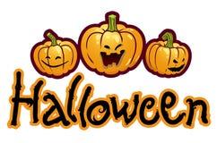 halloween huvud silar pumpa tre som betitlar stock illustrationer