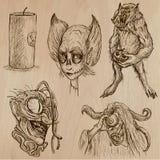 Halloween, i mostri, magia - Vector la raccolta Fotografie Stock