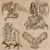 Halloween, i mostri, magia - Vector la raccolta Fotografie Stock Libere da Diritti