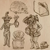 Halloween, i mostri, magia - Vector la raccolta Immagini Stock