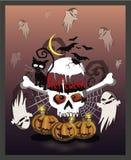 Halloween i wielka czaszka wokoło którego foluje zło Banie dekorują tło ilustracja wektor