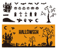 Halloween icon with a banner royalty free illustration