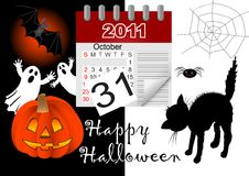 Halloween and icon calendar. vector. Stock Images