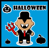 Halloween icon Devil businessman dracula card Royalty Free Stock Photo