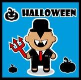 Halloween icon Devil businessman dracula card Royalty Free Stock Photo